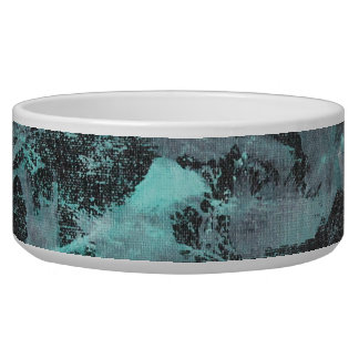 Green and White Ink on Black Background Pet Bowls