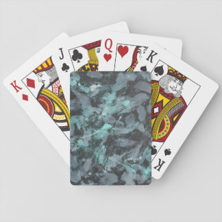 Green and White Ink on Black Background Poker Deck