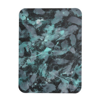 Green and White Ink on Black Background Rectangular Photo Magnet