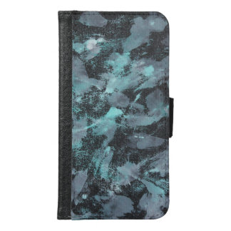 Green and White Ink on Black Background Samsung Galaxy S6 Wallet Case