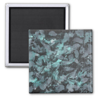 Green and White Ink on Black Background Square Magnet