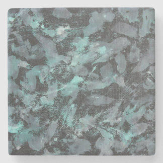 Green and White Ink on Black Background Stone Coaster