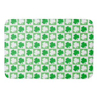 Green and White Irish Shamrocks Checkerboard Bath Mat