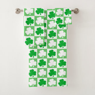 Green and White Irish Shamrocks Checkerboard Bath Towel Set