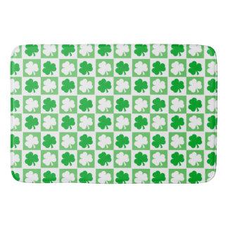 Green and White Irish Shamrocks Chequerboard Bath Mat