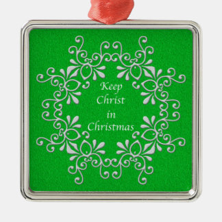 Green and White Keep Christ in Christmas Ornament