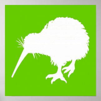 Green and White Kiwi Poster