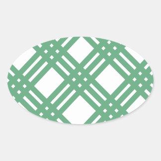 Green and White Lattice Oval Sticker