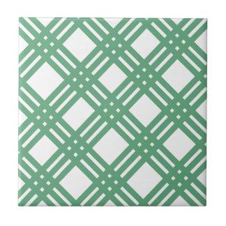 Green and White Lattice Tile