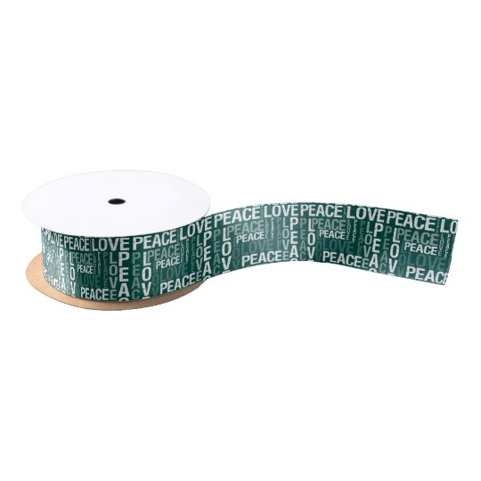 Green and White Love Peace Satin Ribbon