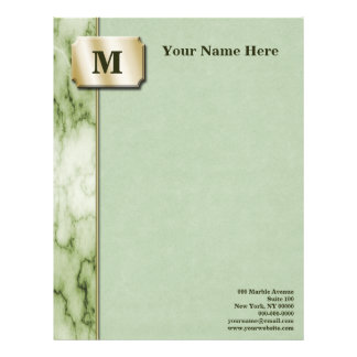 Green and White Marble Executive Letterhead
