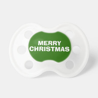 Green and White Merry Christmas Pacifier