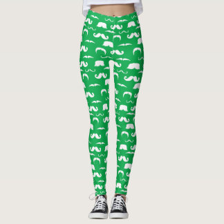 Green and White Moustache Leggings - St. Patty's