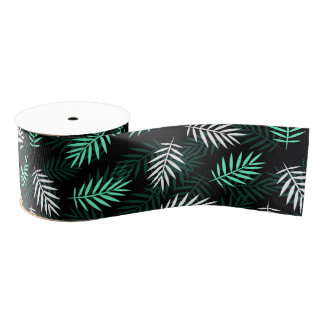 Green and White Palm Leaves Grosgrain Ribbon