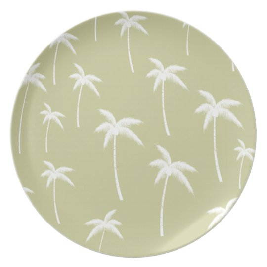 Green and White Palm Trees Plate
