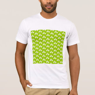 Green and White Pattern of Birds. T-Shirt