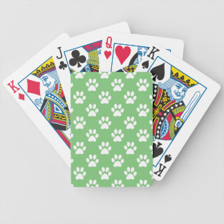 Green and white paws pattern bicycle playing cards