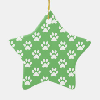 Green and white paws pattern ceramic ornament