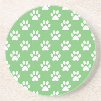 Green and white paws pattern coaster