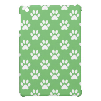 Green and white paws pattern iPad mini cover