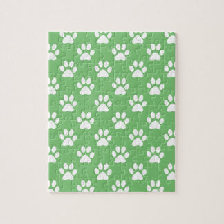 Green and white paws pattern jigsaw puzzle