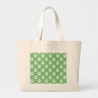 Green and white paws pattern large tote bag