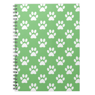 Green and white paws pattern notebook