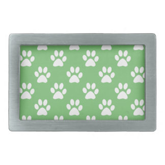 Green and white paws pattern rectangular belt buckle