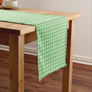 Green and white paws pattern short table runner