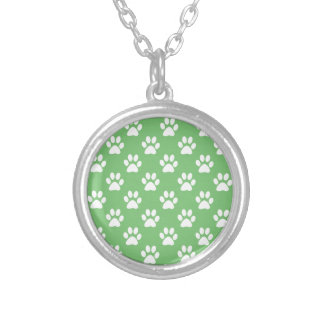 Green and white paws pattern silver plated necklace