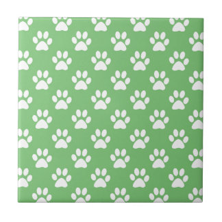Green and white paws pattern tile
