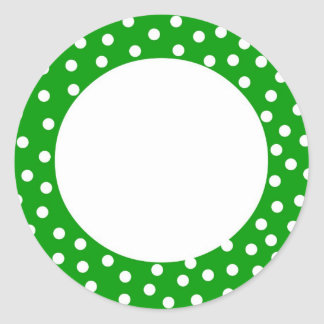 Green and white polka dot label