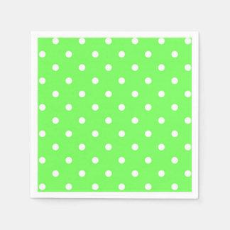 Green and white polka dot modern glamour paper napkins