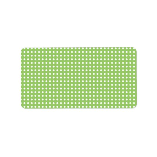 Green and White Polka Dot Pattern. Spotty. Label