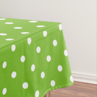 Green and White Polka Dot Pattern Tablecloth