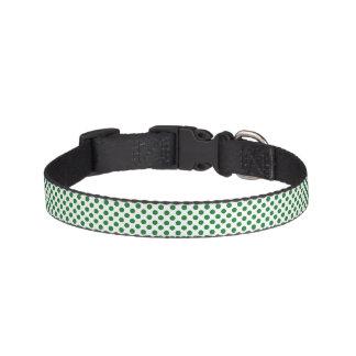 Green and White Polka Dots Pet Collar
