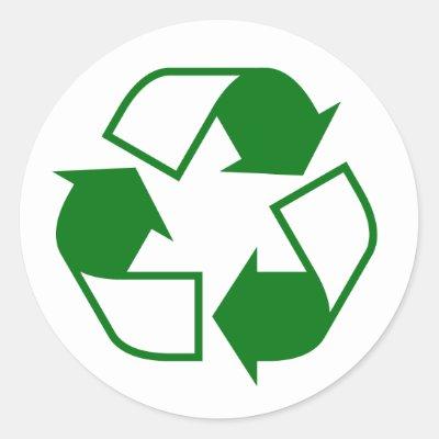 White Recycle Symbol On Dark Blue Background Classic Round Sticker