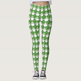 Green and White Shamrock Leggings