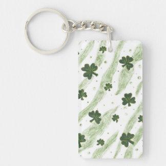 Green and white shamrock pattern acrylic keychain