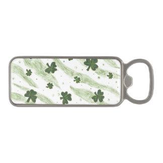 Green and white shamrock pattern bottle opener