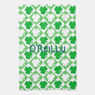 Green and White Shamrocks Plus Name St Pats Day Kitchen Towel