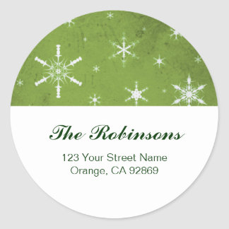 Green and White Snowflake Christmas Address Labels