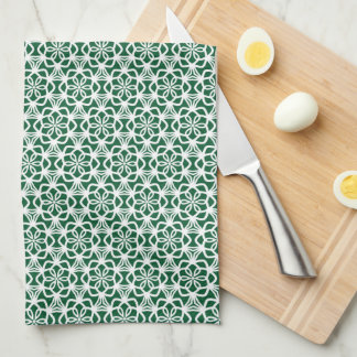 Green and White Snowflake Lace Kitchen Towel