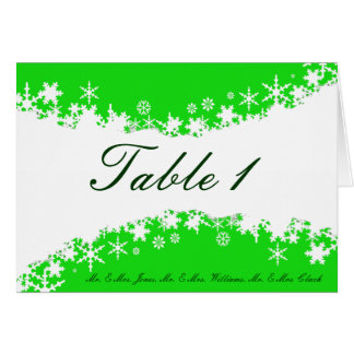 Green and White Snowflakes Table Card