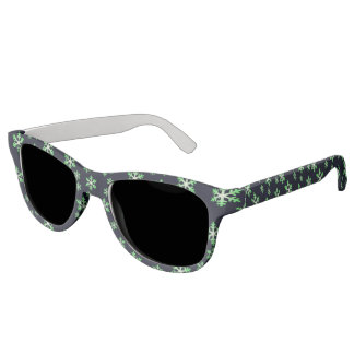 Green and White Snowflakes w/Blue Background Sunglasses