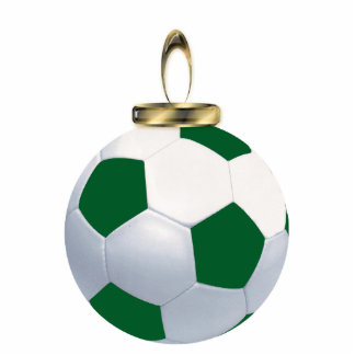 Green and White Soccer Ball Ornament Photo Sculpture Ornament