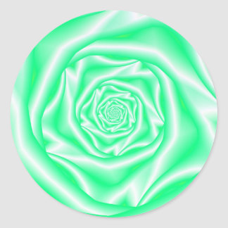 Green and White Spiral Rose Sticker