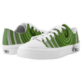 Green and white sprial Low-Top sneakers