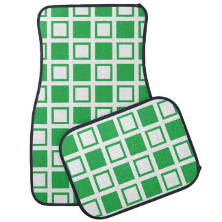 Green and White Squares Car Mat