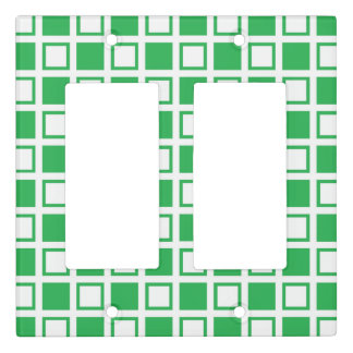 Green and White Squares Light Switch Cover